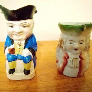 2 Vintage Colonial Men Figurine Creamers
